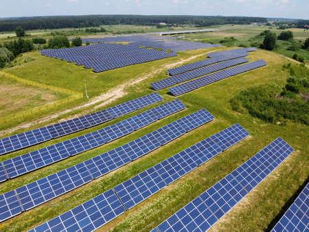 Solar panels in photovoltaic power plant Standard-Bild