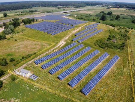 Solar panels on field in summer, aerial view, Poland Standard-Bild
