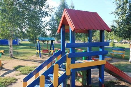 playground rides: childrens playground in the city park