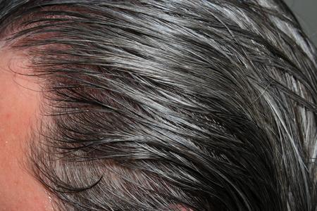 Raw gray hair men Stock Photo
