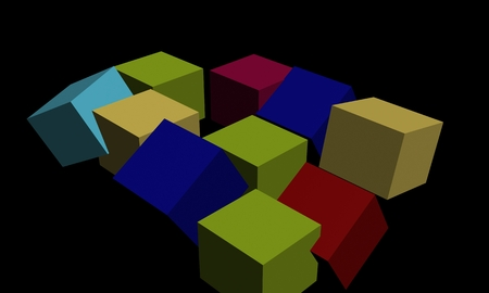 Three-dimensional geometric shapes with black background 免版税图像