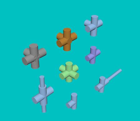 Arten von Verbindungsrohren 3D Standard-Bild - 83314871