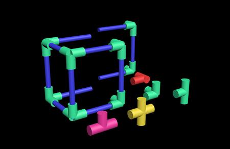プラスチック製のビルド 3 D 格子 写真素材