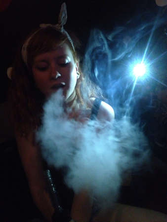 Hookah smoke with flash