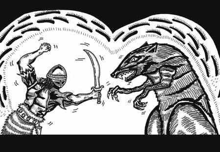 dungeon: Fighter vs. Rat King Illustration
