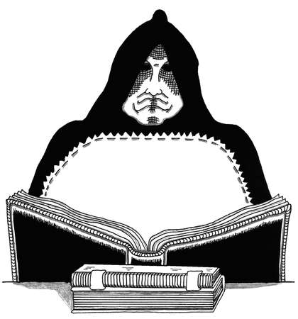 Wizard with Magic Book Ilustrace