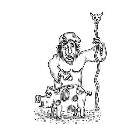 Hag en Living Piggy Bank Stock Illustratie