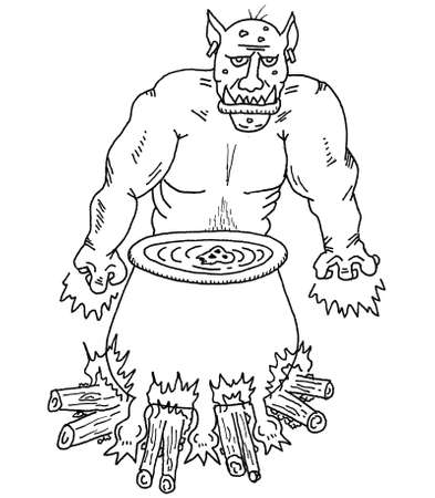 dungeon: Ogre and Magic Pot Illustration
