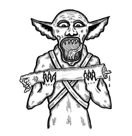 goblin: Goblin eating Arm