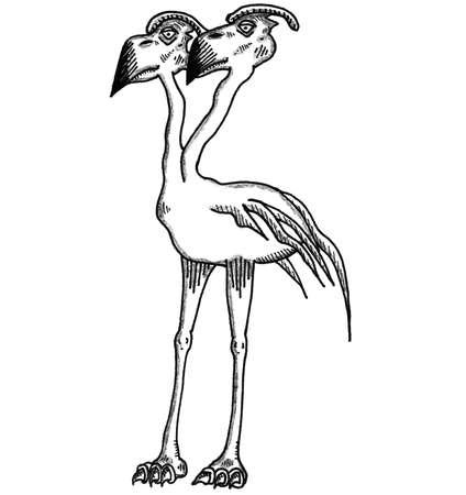 Two Headed Axe Beak Иллюстрация