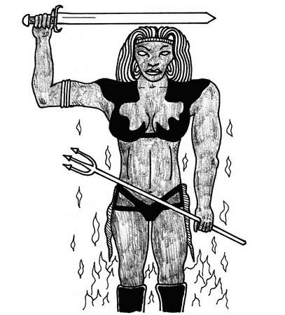 encounter: Fire Giantess Vettoriali