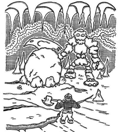 dwarf: Dwarf vs. Boulderman Illustration