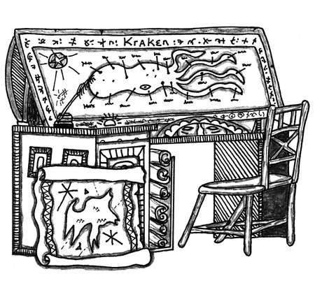 Kraken Desk With Maps Zdjęcie Seryjne - 45223212