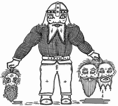 Dwarf with heads