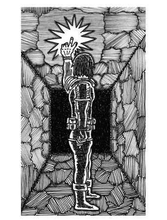 alone in the dark: Magic Light Illustration