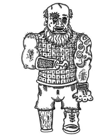 dwarves: Bar Tender Ogre-Dwarf Illustration