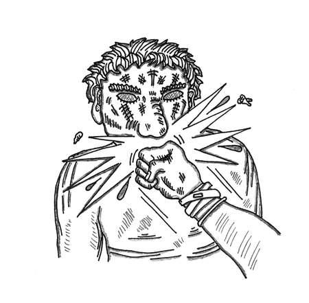 難しい顔のパンチ