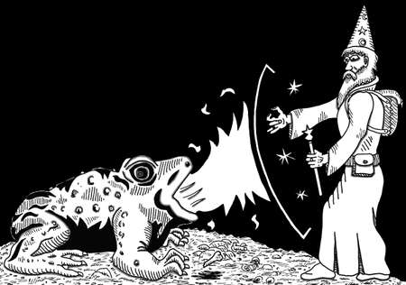 spitting: Fire Toad vs. Wizard Illustration