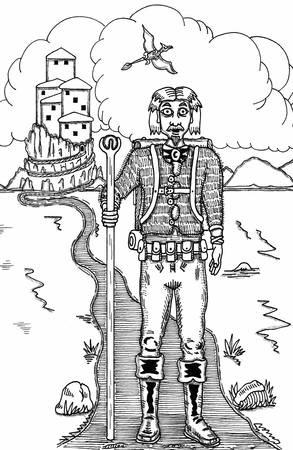 Walking The Wizard Road illustration. Illustration