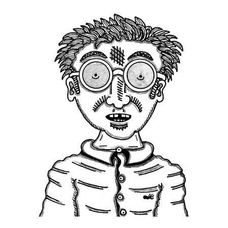 手描きプレゼンテーションのオタク男。