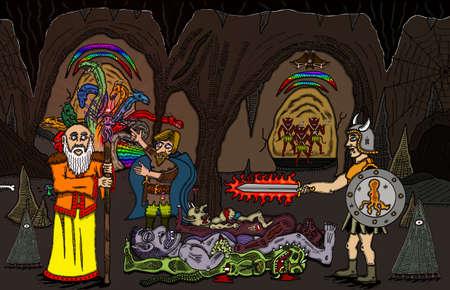 Cave Battle Illustration