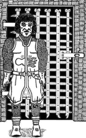 手描き骨ゲート ガード ベクトル イラスト。