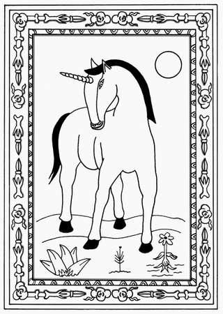 白い背景上にアイボリー ユニコーン画。  イラスト・ベクター素材