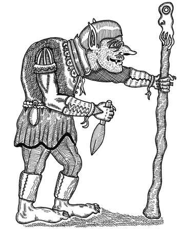 Hunch back goblin on white background, vector illustration. Illustration