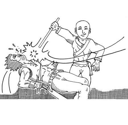 カンフー スティック戦闘  イラスト・ベクター素材