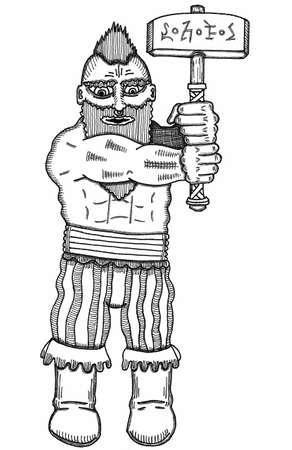 Dwarf with Magic Hammer Illustration