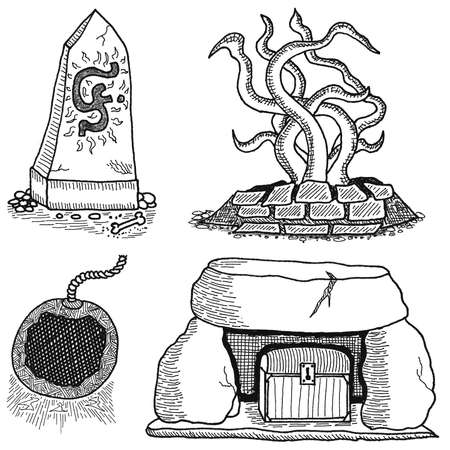 Variety of Dungeon Items in black and white cartoon hand drawn illustration
