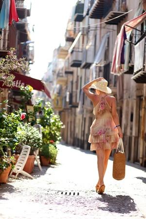 italy street: Woman on the italian street