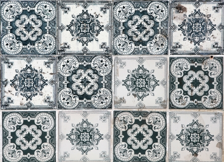 portuguese: Traditional tiles from facades of old houses in Lisbon, Portugal Stock Photo