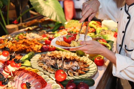 buffet dinner: Food in restaurant Stock Photo