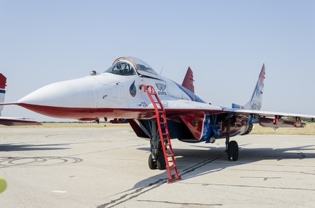 Belgrade, Serbia - September 2, 2012 - Aircraft Mig-29 on the Airshow Batajnica 2012 in Belgrade, Serbia.