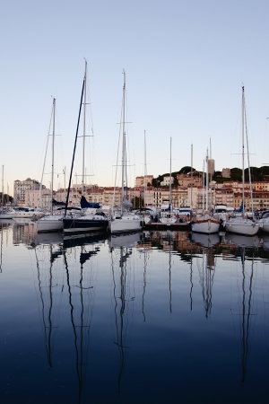 french riviera: Cannes port on the morning