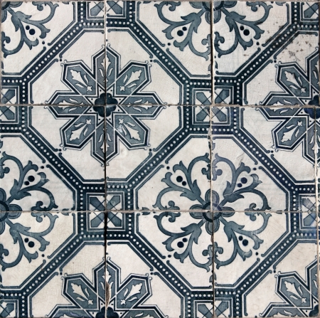 Detail of the traditional tiles  azulejos  from facade of old house in Lisbon, Portugal Stock Photo - 17081426