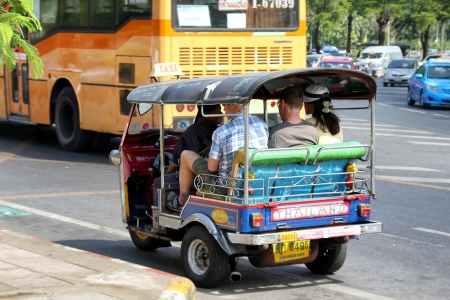 auto rickshaw: Bangkok, Thailand, December 25, 2011 - The auto rickshaw, called tuk-tuk in Thailand, is a widely used form of urban transport in Bangkok and other Thai cities. It is particularly popular where traffic congestion is a major problem. Editorial