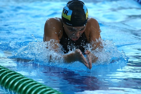 Belgrade, Serbia - July 27, 2007 - Swimming championship at European Youth Olympic Festival in Belgrade, Serbia. Festival is biennial multi-sport event for youth athletes from the 48 countries of the association of European Olympic Commity.