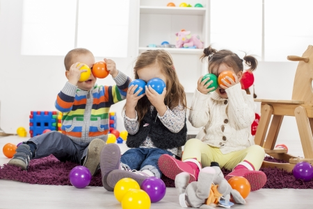 Kids playing in the room photo