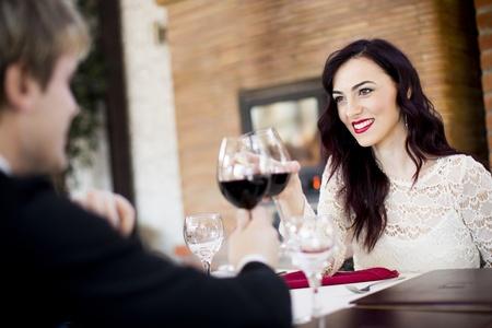 woman drinking wine: Romance Stock Photo