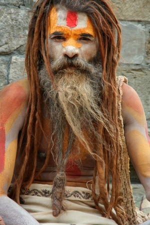 sadhu: Kathmandu, Nepal, August 8, 2008 - Sadhu at Pashupatinath Temple in Kathmandu, Nepal. There are 4 or 5 million sadhus in India today