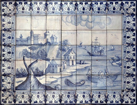 Detail of the traditional tiles  azulejos  from facade of old house in Lisbon, Portugal