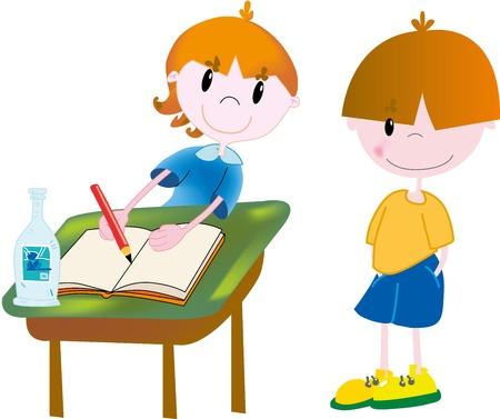 young schoolgirl: School kids Illustration