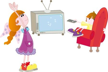 man watching tv: Kids with TV Illustration