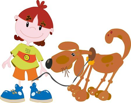 Boy with a dog Vector