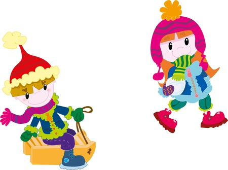Kids playing at winter Stock Vector - 18454656