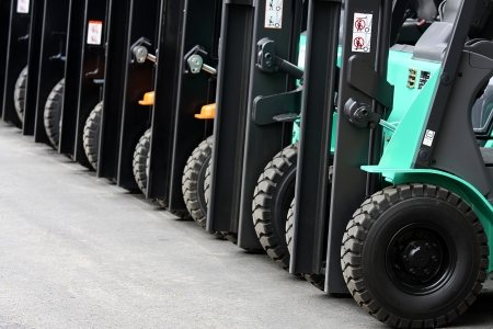 forklifts: Forklifts in the warehouse Stock Photo