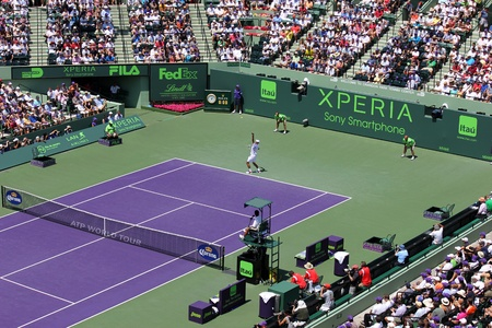 ericsson: MIAMI, USA - APRIL 1: Novak Djokovic at the final match at Sony Ericsson Open in Miami, USA at April 1, 2012.  Djokovic defeating Andy Murray 6-1, 7-6(4) to triumph for the third time at Crandon Park. Editorial