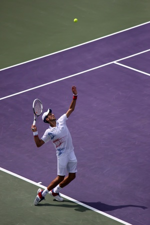 ericsson: Miami, USA - April 1, 2012: Novak Djokovic at the final match at Sony Ericsson Open in Miami, USA. Djokovic defeating Andy Murray 6-1, 7-6(4) to triumph for the third time at Crandon Park.
